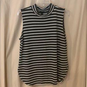 ann taylor grey and white striped tank top